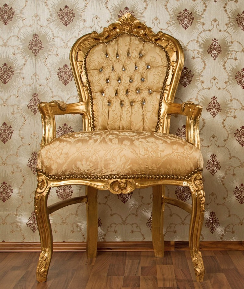Sedia antica in seta damascata