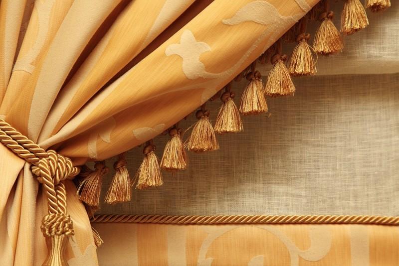 Particolare bordura tenda in tessuto